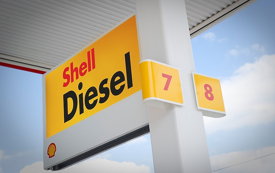 Shell diesel sign at fuel station